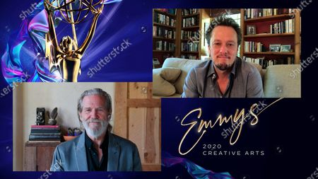 """Jeff Bridges presents the Emmy for Outstanding Main Title Theme Music to Nathan Barr for """"Hollywood"""" during the fourth night of the 2020 Creative Arts Emmy Awards, streamed live on Emmys.com on"""