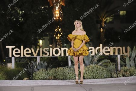 Stock Image of Erin Moriarty presents the Emmy for Outstanding Music Composition For A Limited Series, Movie Or Special (Original Dramatic Score) during the fourth night of the 2020 Creative Arts Emmy Awards, streamed live on Emmys.com on