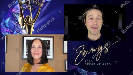 """Cheryl Burke presents the Emmy for Outstanding Innovation in Interactive Programming to Joseph Gordon Levitt for """"Create Together"""" during the fourth night of the 2020 Creative Arts Emmy Awards, streamed live on Emmys.com on"""