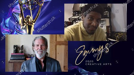 """Stock Image of Jeff Bridges presents the Emmy for Outstanding Original Music And Lyrics to Labrinth for the original song """"All For Us"""" from """"Euphoria's"""" final episode """"And Salt The Earth Behind You."""" during the fourth night of the 2020 Creative Arts Emmy Awards, streamed live on Emmys.com on"""