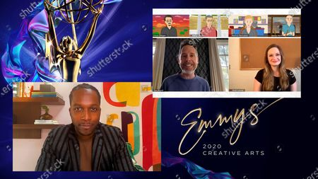 "Stock Image of Leslie Odom Jr. presents the Emmy for Outstanding Short Form Comedy Or Drama Series to Dan Appel and Ariel Levine for ""Better Call Saul Employee Training: Legal Ethics With Kim"" during the fourth night of the 2020 Creative Arts Emmy Awards, streamed live on Emmys.com on . Vince Gilligan, Peter Gould, Melissa Bernstein, James Heth are illustrated above"