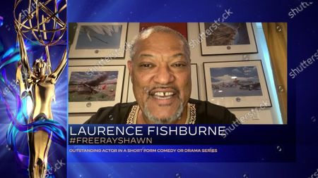 """Laurence Fishburne accepts the Emmy for Outstanding Actor In A Short Form Comedy Or Drama Series for """"#FreeRayshawn"""" during the fourth night of the 2020 Creative Arts Emmy Awards, streamed live on Emmys.com on"""