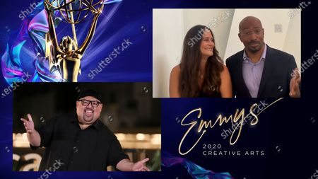 """Stock Picture of Gabriel Iglesias presents the Emmy for Outstanding Original Interactive Program to Jana Carter and Van Jones for """"The Messy Truth VR Experience"""" during the fourth night of the 2020 Creative Arts Emmy Awards, streamed live on Emmys.com on"""