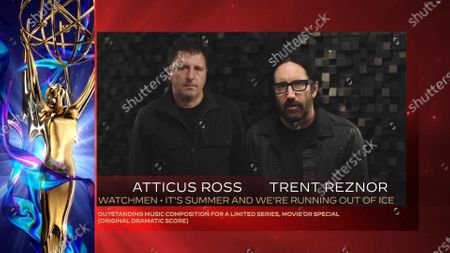 "Atticus Ross left, and Trent Reznor accept the Emmy for Outstanding Music Composition For A Limited Series, Movie Or Special (Original Dramatic Score) for ""Watchmen"" for ""It's Summer And We're Running Out Of Ice"" during the fourth night of the 2020 Creative Arts Emmy Awards, streamed live on Emmys.com on"
