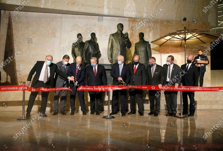 The ribbon cutting ceremony at the opening of the Dwight D Eisenhower Memorial, honoring the legacy of the World War II Supreme Allied Commander and nation's 34th President