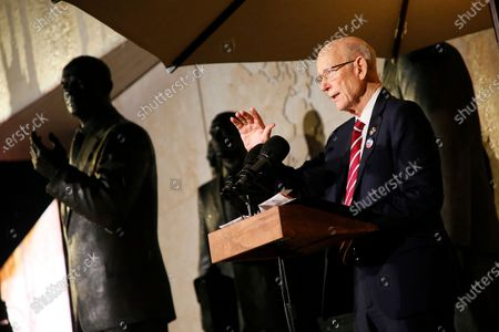 Sen. Pat Roberts (R-KS), Chairman of the Eisenhower Memorial commission, speaks at the opening of the Dwight D Eisenhower Memorial, honoring the legacy of the World War II Supreme Allied Commander and nation's 34th President