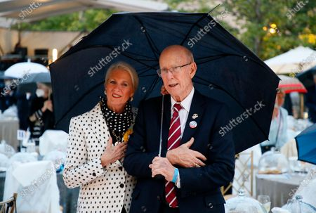 Sen. Pat Roberts (R-KS), Chairman of the Eisenhower Memorial commission, and his wife, Franki Roberts, at the opening of the Dwight D Eisenhower Memorial, honoring the legacy of the World War II Supreme Allied Commander and nation's 34th President