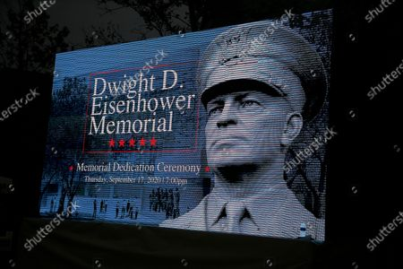 Graphics on display at the opening of the Dwight D Eisenhower Memorial, honoring the legacy of the World War II Supreme Allied Commander and nation's 34th President