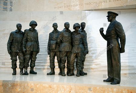 A statue of Dwight D. Eisenhower's D-Day address to the troops on display at the opening of the Dwight D Eisenhower Memorial, honoring the legacy of the World War II Supreme Allied Commander and nation's 34th President