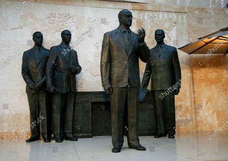 One of the statues of Dwight D Eisenhower on display at the opening of the Dwight D Eisenhower Memorial, honoring the legacy of the World War II Supreme Allied Commander and nation's 34th President