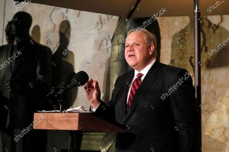 Interior Secretary David Bernhardt speaks at the opening of the Dwight D Eisenhower Memorial, honoring the legacy of the World War II Supreme Allied Commander and nation's 34th President