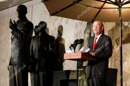 David Eisenhower, grandson of former President Dwight D Eisenhower, speaks at the opening of the Dwight D Eisenhower Memorial, honoring the legacy of the World War II Supreme Allied Commander and nation's 34th President