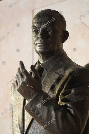 A bronze statue of Dwight D Eisenhower at the opening of the Dwight D Eisenhower Memorial, honoring the legacy of the World War II Supreme Allied Commander and nation's 34th President
