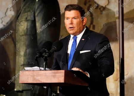 Fox News anchor Bret Baier speaks at the opening of the Dwight D Eisenhower Memorial, honoring the legacy of the World War II Supreme Allied Commander and nation's 34th President