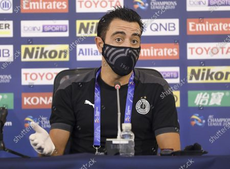 Head coach Xavi Hernandez of Al Sadd attends a press conference ahead of the group D match of AFC Champions League between Al Sadd of Qatar and Al Ain of United Arab Emirates in Doha, capital of Qatar, Sept. 17, 2020.