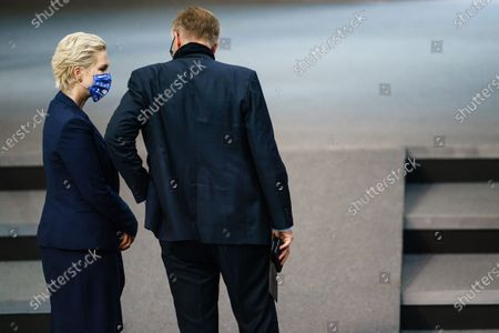 Stock Picture of Mecklenburg-Western Pomerania State Premier Manuela Schwesig (L) and Left party (Die Linke) faction co-chairman in the German parliament Bundestag Dietmar Bartsch (R) talk as Schwesig leaves after her speech during a session at the German parliament 'Bundestag' in Berlin, Germany, 18 September 2020. The German Bundestag parliament discussed the Nord Stream 2 project on request of the Greens (Bundnis 90/Die Gruenen) to withdraw political support for the Nord Stream 2 project and stop construction of the pipeline.
