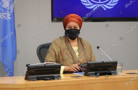 Deputy Secretary-General Amina Mohammed holds a press conference together with Richard Curtis, Sustainable Development Goals (SDGs) Advocate, on the Sustainable Development Goals Moment today at the UN Headquarters in New York.