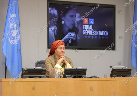 Stock Image of Deputy Secretary-General Amina Mohammed holds a press conference together with Richard Curtis, Sustainable Development Goals (SDGs) Advocate, on the Sustainable Development Goals Moment today at the UN Headquarters in New York.