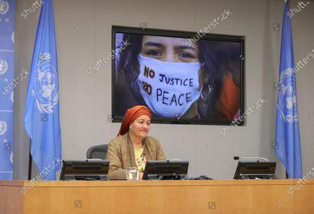 Editorial picture of Deputy Secretary-General Amina Mohammed  Presser, UN Headquarters, New York, USA - 17 Sep 2020