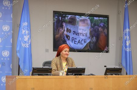 Stock Picture of Deputy Secretary-General Amina Mohammed holds a press conference together with Richard Curtis, Sustainable Development Goals (SDGs) Advocate, on the Sustainable Development Goals Moment today at the UN Headquarters in New York.