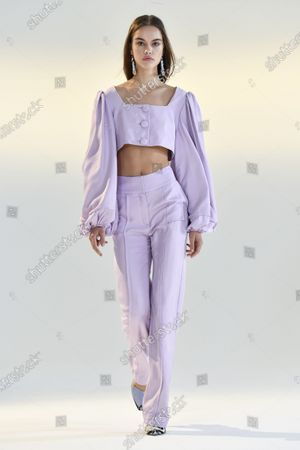 Stock Image of A Model wearing an outfit from the Womens Ready to wear, pret a porter, collections, summer 2021, original creation, during the Womenswear Fashion Week in New York, from the house of Vivienne Hu