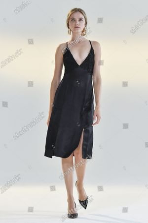 Stock Photo of A Model wearing an outfit from the Womens Ready to wear, pret a porter, collections, summer 2021, original creation, during the Womenswear Fashion Week in New York, from the house of Vivienne Hu