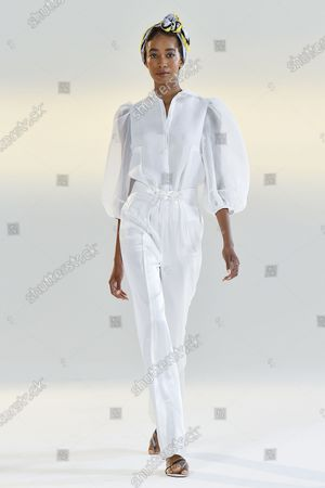 A Model wearing an outfit from the Womens Ready to wear, pret a porter, collections, summer 2021, original creation, during the Womenswear Fashion Week in New York, from the house of Vivienne Hu