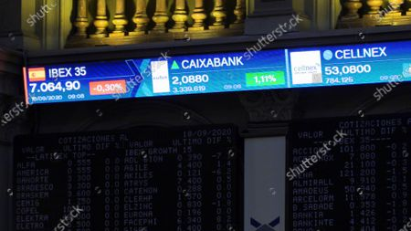 Editorial image of Spain's Ibex35 drops 0.23 percent after Caixabank-Bankia merger announcement, Madrid - 18 Sep 2020
