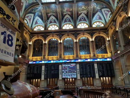 Stock Image of Interior view of the Stock Exchange of Madrid, Spain, 18 September 2020. Spain's IBEX35 index dropped 0,23 percent at the trade opening after Caixabank and Bankia announced their merger to create the biggest bank in the country with assets of 650 billion euros.