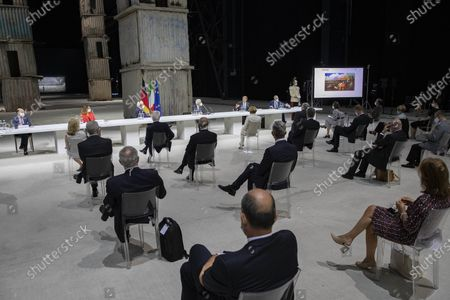 German President Frank-Walter Steinmeier, Marco Tronchetti Provera President Pirelli Foundation for the study panel titled ' the rebirth at the time of Covid ', Italian Republic President Sergio Mattarella during the visit at the Pirelli HangarBicocca