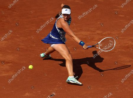 Anna Blinkova of Russia in action during her third round match against Karolina Pliskova of Czech Republic at the Italian Open in Rome, Italy, 18 September 2020.