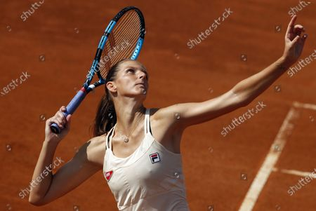 Karolina Pliskova of Czech Republic in action during her third round match against Anna Blinkova of Russia at the Italian Open in Rome, Italy, 18 September 2020.