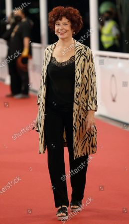 Iciar Bollain poses upon arrival at the opening gala of the 68th edition of the San Sebastian International Film Festival (SSIFF), in San Sebastian, Spain, 18 September 2020. The film festival will run from 18 to 26 September 2020 under safety measures like obligatory face mask use and red carpets without public due to the Covid-19 coronavirus pandemic. Organizers have also reduced the number of film screenings as well as the seating capacity in cinemas.