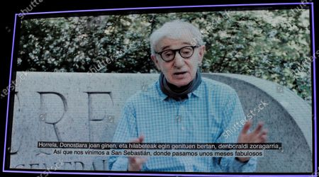 Woody Allen is seen on a giant screen as he addresses the audience via video message during the opening gala of the 68th edition of the San Sebastian International Film Festival (SSIFF), in San Sebastian, Spain, 18 September 2020. The film festival will run from 18 to 26 September 2020 under safety measures like obligatory face mask use and red carpets without public due to the Covid-19 coronavirus pandemic. Organizers have also reduced the number of film screenings as well as the seating capacity in cinemas.