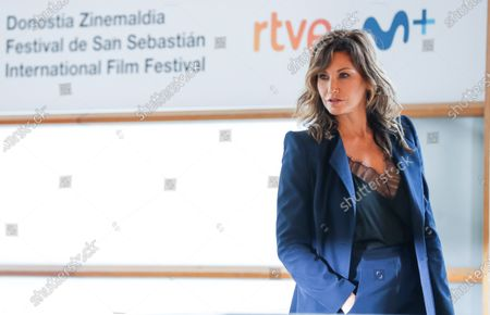 Gina Gershon poses at her arrival to the photocall of the film 'Rifkin's Festival', the latest Woody Allen movie filmed in San Sebastian, at the 68th annual San Sebastian International Film Festival (SSIFF), in San Sebastian, Spain, 18 September 2020. The film festival will run from 18 to 26 September 2020 under safety measures like obligatory face mask use and red carpets without public due to the Covid-19 coronavirus pandemic. Organizers have also reduced the number of film screenings as well as the seating capacity in cinemas.