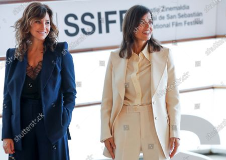 Gina Gershon (L) and Spanish actress Elena Anaya (R) pose at their arrival to the photocall of the film 'Rifkin's Festival', the latest Woody Allen movie filmed in San Sebastian, as part of the 68th edition of the San Sebastian International Film Festival (SSIFF), in San Sebastian, Spain, 18 September 2020. The film festival will run from 18 to 26 September 2020 under safety measures like obligatory face mask use and red carpets without public due to the Covid-19 coronavirus pandemic. Organizers have also reduced the number of film screenings as well as the seating capacity in cinemas.