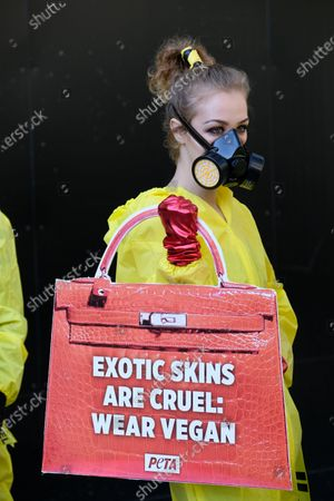 PETA stage a protest against exotic skins at London Fashion Week