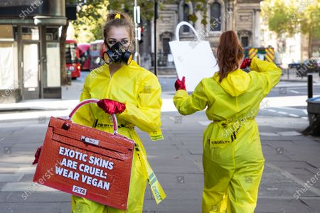 Peta activists stage a demonstration near Sommerset House to protest the use of exotic animal skins in the fashion industry. Their signs read: ''Exotic skins are cruel: wear Vega'' and ''Prevent pandemics, bin exotic skins''.