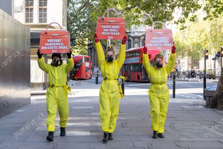 PETA stage a protest against exotic skins during London Fashion Week