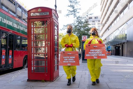 Stock Image of PETA stage a protest against exotic skins during London Fashion Week