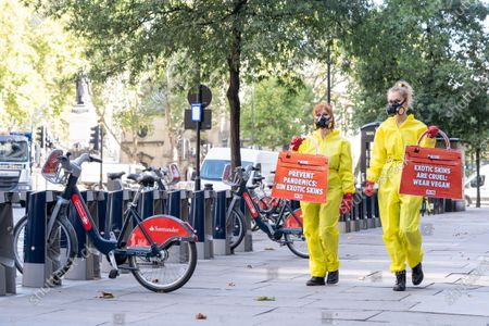 Stock Photo of PETA stage a protest against exotic skins during London Fashion Week