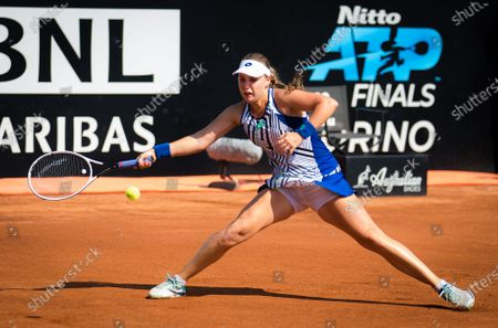 Anna Blinkova of Russia in action during her third-round match at the 2020 Internazionali BNL d'Italia WTA Premier 5 tennis tournament