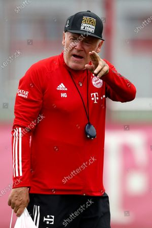 Bayern Munich assistant coach Hermann Gerland attends a training session in Munich, Germany, . The German Bundesliga starts next Friday, Sept. 18, 2020