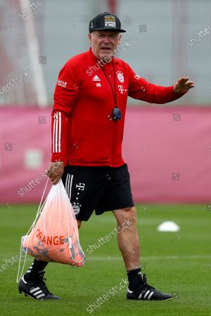 Stock Photo of Bayern Munich assistant coach Hermann Gerland attends a training session in Munich, Germany, . The German Bundesliga starts next Friday, Sept. 18, 2020