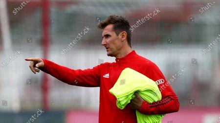 Bayern Munich assistant coach Miroslav Klose attends a training session in Munich, Germany, . The German Bundesliga starts next Friday, Sept. 18, 2020