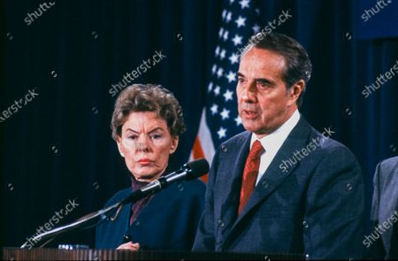 United States Senate Minority Leader Bob Dole (Republican of Kansas) accepts the endorsement of his candidacy for the Republican nomination as President of the US, from former US Ambassador to the United Nations Jeanne Kirkpatrick at a press Conference in Washington, DC.
