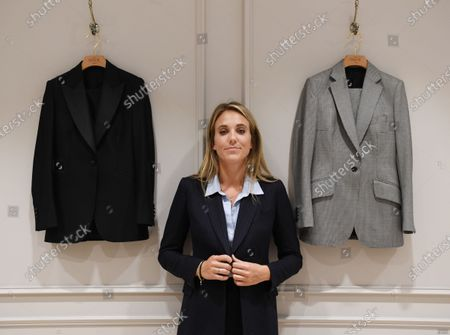 Stock Picture of Daisy Knatchbull, founder of The Deck in Savile Row, poses for photographs in the first shop that tailors exclusively for women in London, Britain, 17 September 2020 (issued 18 September 2020). The Deck tailoring house offers made-to-measure suits exclusively for women. The women-only tailor shop now sits in the world famous street known for its traditional bespoke tailoring. The Deck is aiming at the luxury market, with suits starting at 2,200 GBP (EUR 2,400).