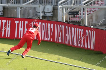 Lancashire Lightnings Rob Jones tough catch missed during the Vitality T20 Blast North Group match between Lancashire County Cricket Club and Durham County Cricket Club at the Emirates, Old Trafford, Manchester