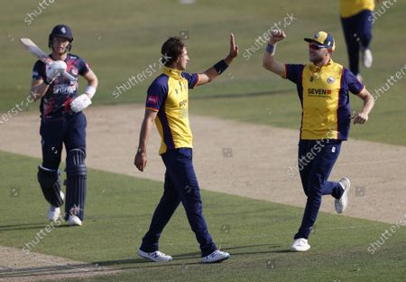 Jack Plom of Essex is congratulated by Sam Cook (R) after he took the wicket of Sam Billings (L) during Kent Spitfires vs Essex Eagles, Vitality Blast T20 Cricket at The Spitfire Ground on 18th September 2020
