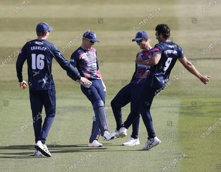 Sam Billings (2nd L) of Kent is congratulated after running out Cameron Delport during Kent Spitfires vs Essex Eagles, Vitality Blast T20 Cricket at The Spitfire Ground on 18th September 2020